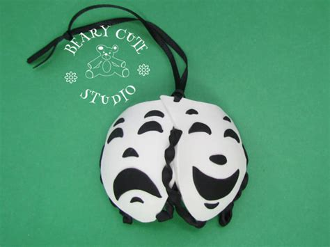 comedy and tragedy christmas ornament drama by bearycutestudio