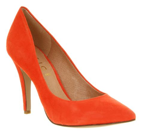 orange shoes for womens office kandi coral orange suede high heel court