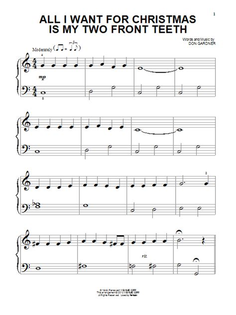 tutorial piano all i want for christmas is you all i want for christmas is my two front teeth sheet