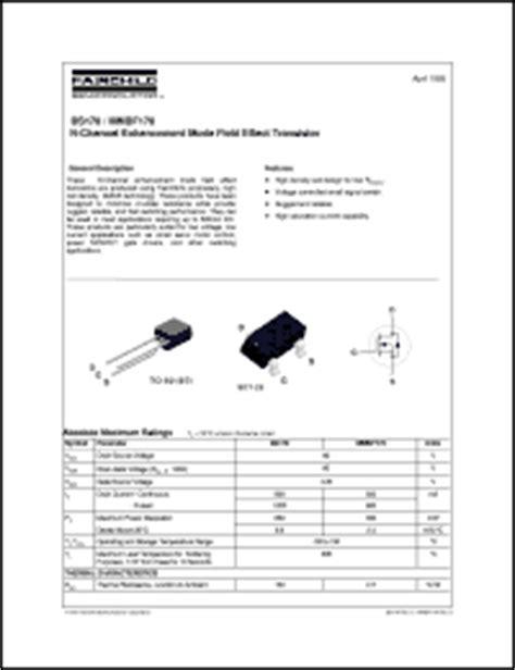transistor bs170 datasheet fairchild semiconductor bs170 series datasheets bs170 d27z bs170 mmbf170 nl bs170 d26z