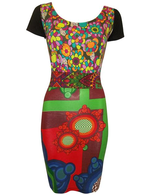 Br3855 168 000 Dress Sale 85 desigual retro print bodycon dress patchwork top size 8 10