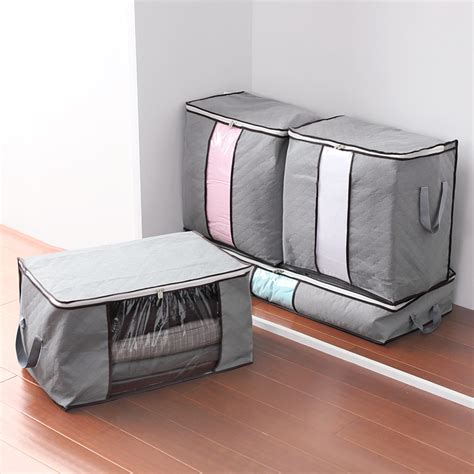 storing pillows gray m xl size foldable storage bag clothes blanket pillow