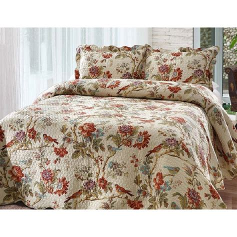 Coverlet And Shams Set Finch Orchard Floral Quilt And Shams Set 18584839