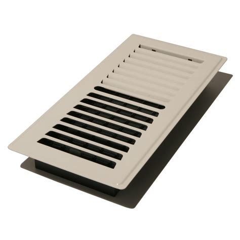 decor grates 4 in x 10 in steel floor register lp410 wh