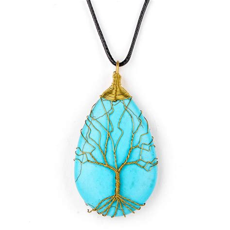 Handmade Jewelry Pendants - handmade wire wrapped copper tree of turquoise