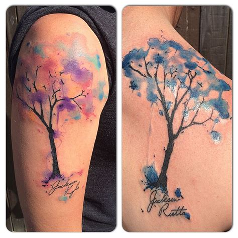 tattoo watercolor couple coupletattoo treetattoo watercolor living art gallery