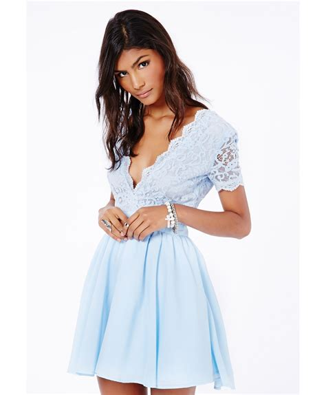 Aleena Dress missguided aleena eyelash lace plunge neck puffball mini dress in baby blue in blue lyst