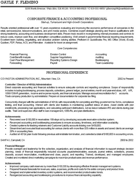 Sle Accounting Resume by Sle Of Resume For Accountant 28 Images Sle Financial