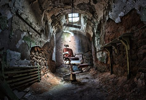 creepy eastern state penitentiary jail cell mad chair flickr