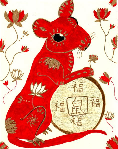 new year the year of the rat year of the rat drawing by barbara giordano