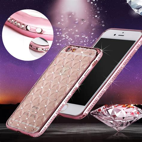 Iphone 6 Plus Luxury Bling Gold Casing Cover Bumper i6 6s luxury bling rhinestone clear tpu phone for iphone 6 6s plus 5 5 inch