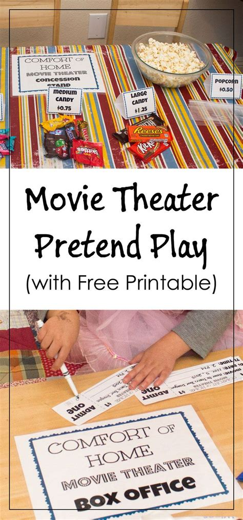 printable play tickets 22 best images about dramatic play on pinterest popcorn