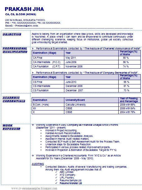 resume format 2014 india 10000 cv and resume sles with free resume sle of a chartered accountant