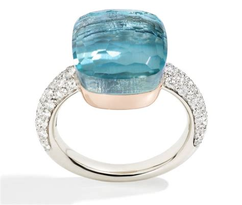 nudo pomellato ring nudo ring with blue topaz and diamonds pomellato