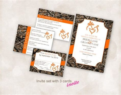 Wedding Invite Set Template Instant Download Printable Kissing Deer With Heart Camo 5x7 With 3 Camo Invitation Templates