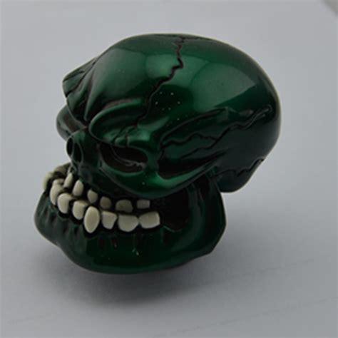 shiny cyan custom human skull stick shift gear shifter