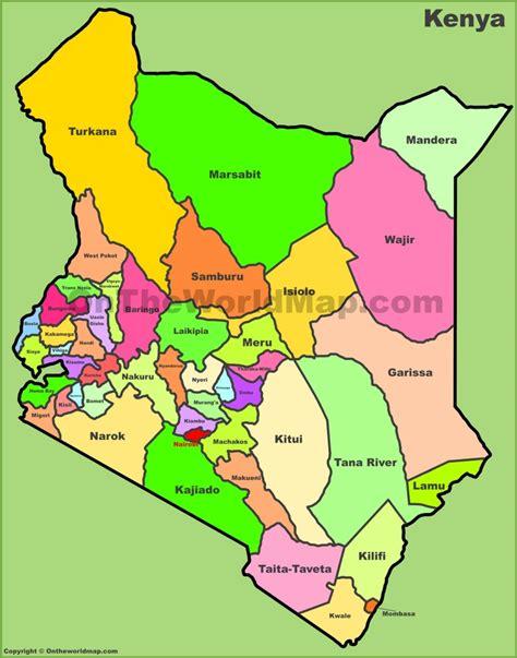 printable map kenya administrative map of kenya