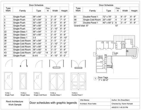 Door Schedules With Graphic Legends Villa Mairea Pinterest Window Detail Villa And How To Window And Door Schedule Template