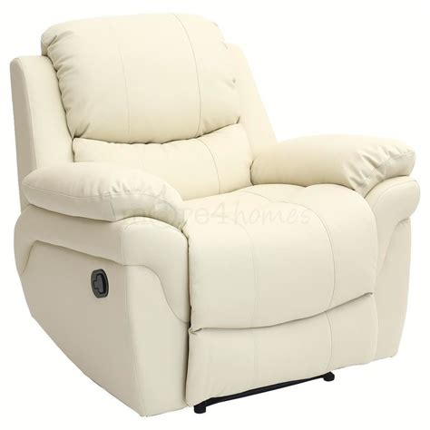 leather recliner lounge madison cream real leather recliner armchair sofa home