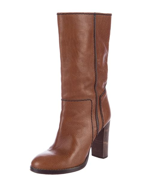 mid calf boots chlo 233 leather mid calf boots shoes chl51627 the realreal