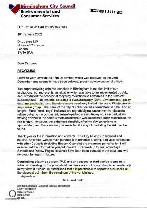 Complaint Letter To Council About Rubbish Collection Recycle