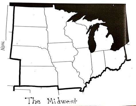blank midwest map midwest states and capital map