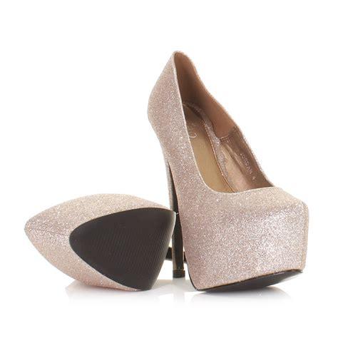 Pantofel Golden Gliter pumps damen schuhe high heels plateau glitter