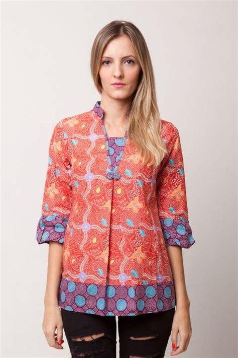 Blouse Batik Nadira Orange Pink Pw batik shanghai blouse brandclozet calosa