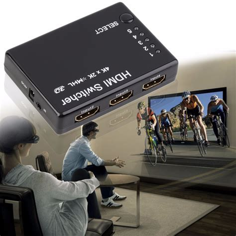 Hdmi Switcher 5 Port 4k X 2k Mhl 3d With Remote Berkualitas hdmi switcher 5 port 4k x 2k mhl 3d with remote black