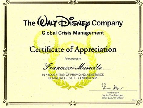 company certificate template the walt disney company certificate of appreciation