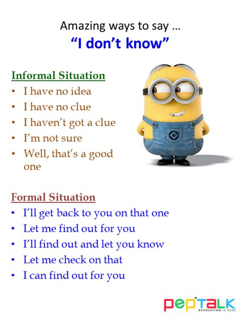 interesting ways to say quot i don t know quot pep talk india