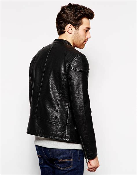 Esprit Leather esprit faux leather biker jacket in black for lyst