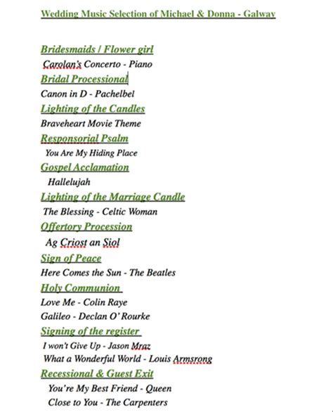 Wedding Ceremony Song List Template by Great Wedding List Template Pictures Inspiration