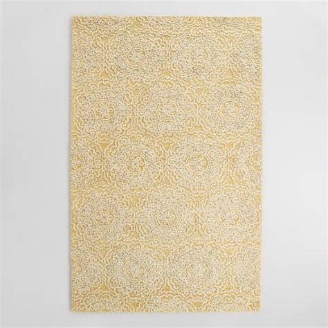 yellow wool rug yellow and ivory floral tufted wool area rug world market