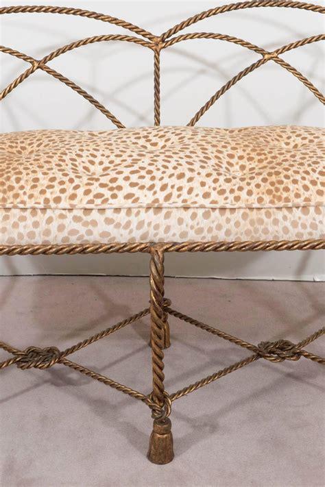 leopard print settee mid century italian gilt rope and tassel settee with