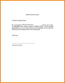Sle Absence Letter Due To In The Family Or Funeral 8 Excuse Letter For Absence In School Fancy Resume