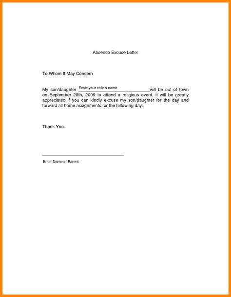 College Absent Letter 8 excuse letter for absence in school fancy resume