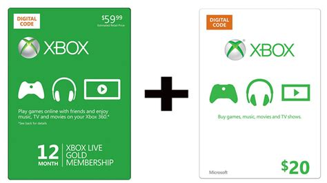 Xbox Gold Gift Card - buy a year of live gold get a 20 xbox gift card