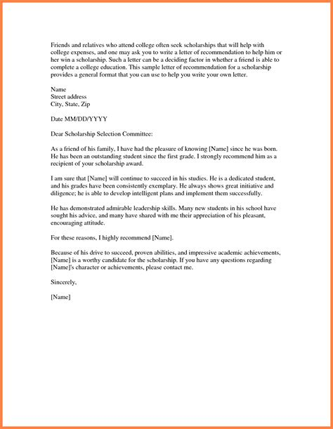 letter of recommendation for scholarship template images letter
