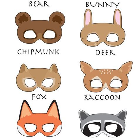 printable endangered animal masks woodland forest animals printable masks woodland animal