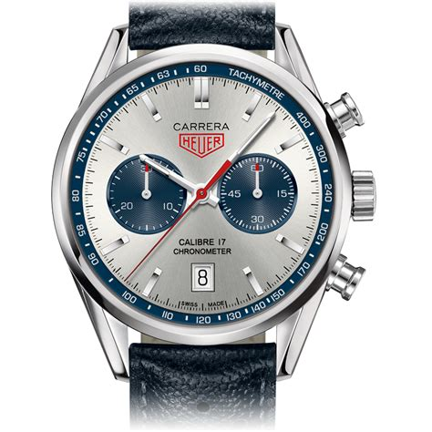 CARRERA CALIBRE 17 Automatic Chronograph 41mm Silver & Blue Leather bracelet   TAG Heuer