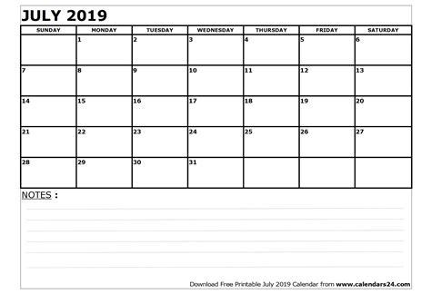 Calendar 2019 July July 2019 Calendar August 2019 Calendar