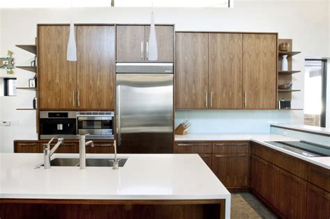 modern walnut kitchen cabinets walnut and white kitchen modern kitchen denver by