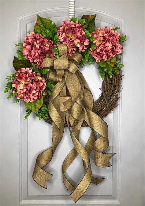 wreath  front door hydrangea wreath front door wreath