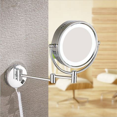 conair double sided lighted wall mount mirror brushed nickel lighted makeup mirror wallmounted brass ovente mlw45ch 95