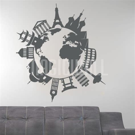 Lime Green Home Decor wall decals world travel landmarks and monuments wall