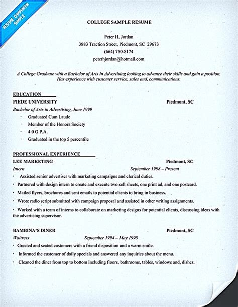 College Student Resumes by Best 25 Student Resume Ideas On Resume Tips