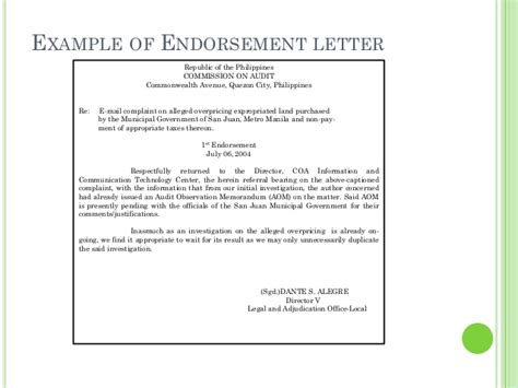 Endorsement Letter For Equipment business letters