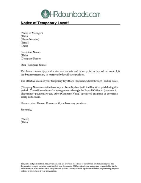10 best images of exle of lay notice temporary layoff letter sle sle lay