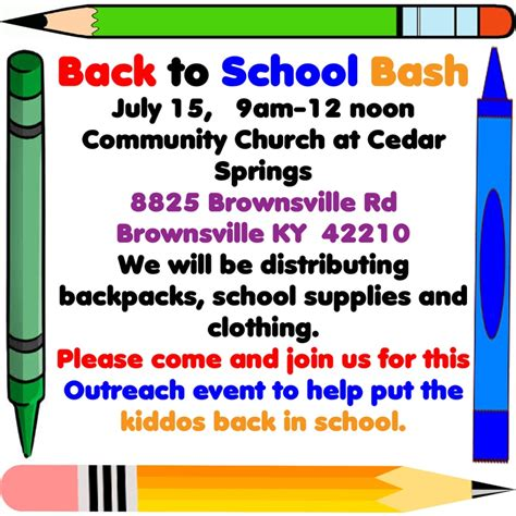 7 Back To School Solutions by Community Church To Host Back To School Bash The